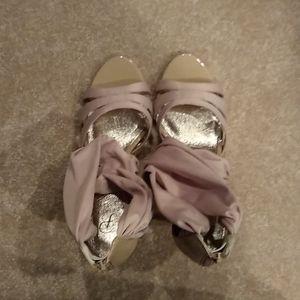 Adrianna papell sandals, heels, zip up back, 9